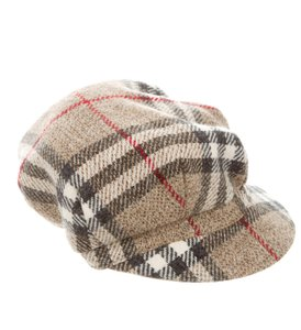 Burberry Khaki, brown multicolor Burberry Nova check wool newsboy cap