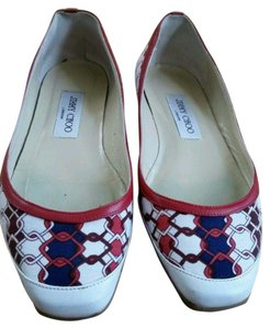 Jimmy Choo Red, white & Navy blue Flats