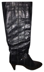Joyce Eel Skin Leather Vintage Rare Unique Heel Sexy Black velvet/lace Boots