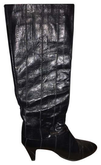 Joyce Eel Skin Leather Vintage Rare Unique Heel Sexy Black velvet/lace Boots Image 0