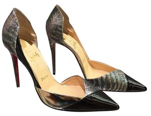 Christian Louboutin Size 37.5 Silver Black Pumps