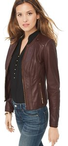 White House | Black Market Leather Very Cool Classic DEEP CLARET Leather Jacket