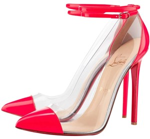 Christian Louboutin Patent Leather Ankle Strap Un Bout Pointed Toe Clear Pink, Clear Pumps