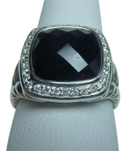 David Yurman 11mm Albion Ring with Onyx and Diamonds size 7