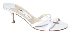 Jimmy Choo 7 Kitten Slide White Sandals
