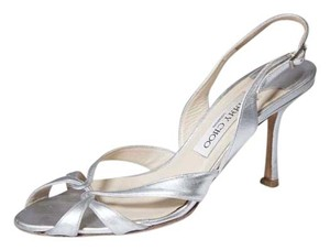 Jimmy Choo Slingback 7.5 Kitten Silver Sandals
