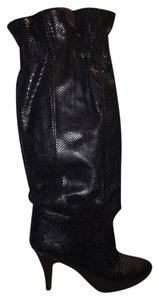 Saffron Black Leather Snakeskin Vintage Heel Low Sexy 70s Black Snakeskin Boots