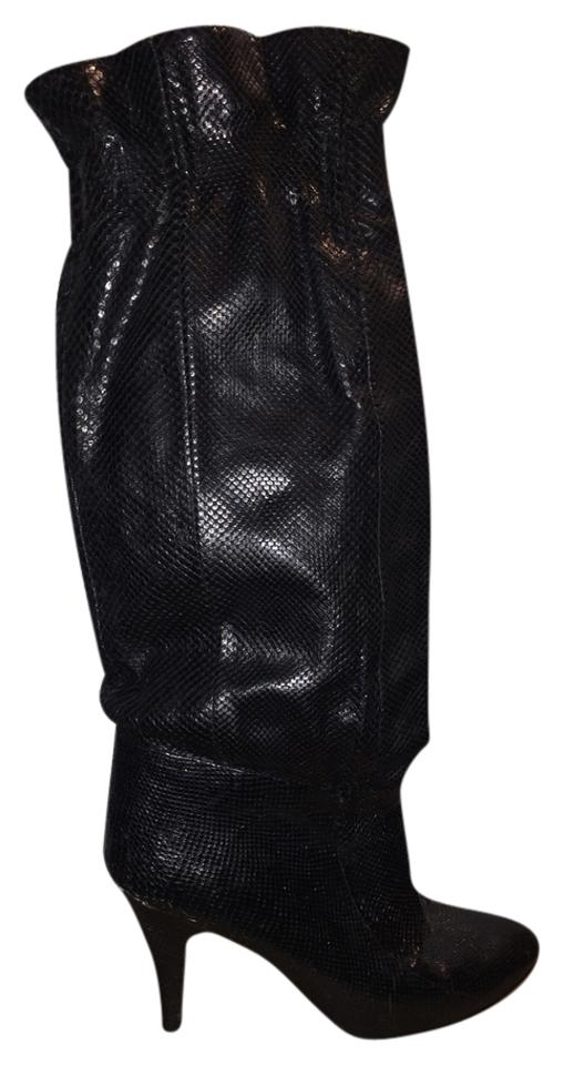 bee19c466ab7 Black Snakeskin Leather Vintage Heel Low Sexy 70s Boots Booties Size ...