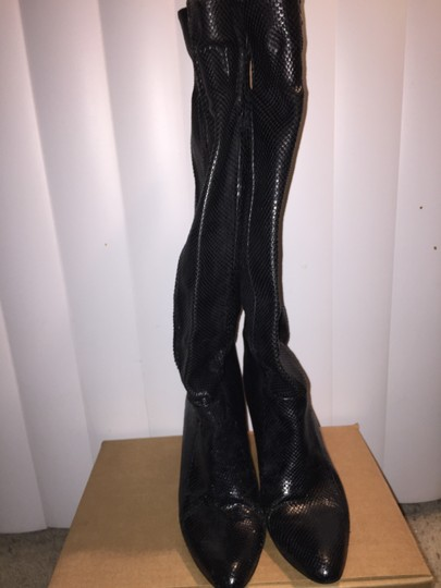 Saffron Leather Vintage Heel Low Sexy 70s Black Snakeskin Boots