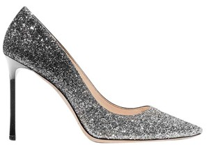 Jimmy Choo Glitter New Romy Pointed Toe Black and Silver Pumps
