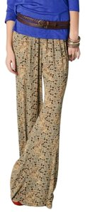Free People Flare Boho Wide Leg Pants Tan, Multi Print