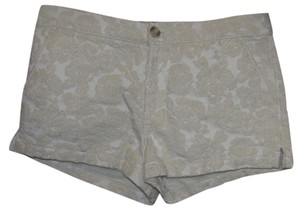 Abercrombie & Fitch Jacquard Gold Mini Floral Mini/Short Shorts Gold White