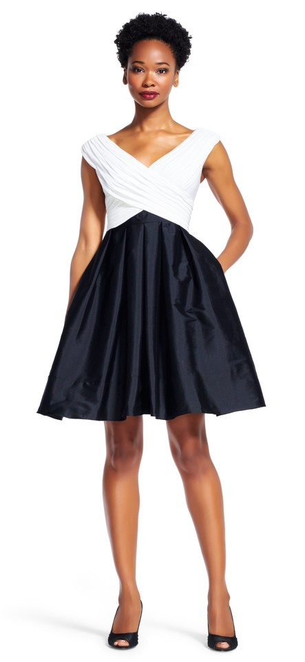Adrianna Papell Black & Ivory Draped Fit and Flare with Full Taffeta ...