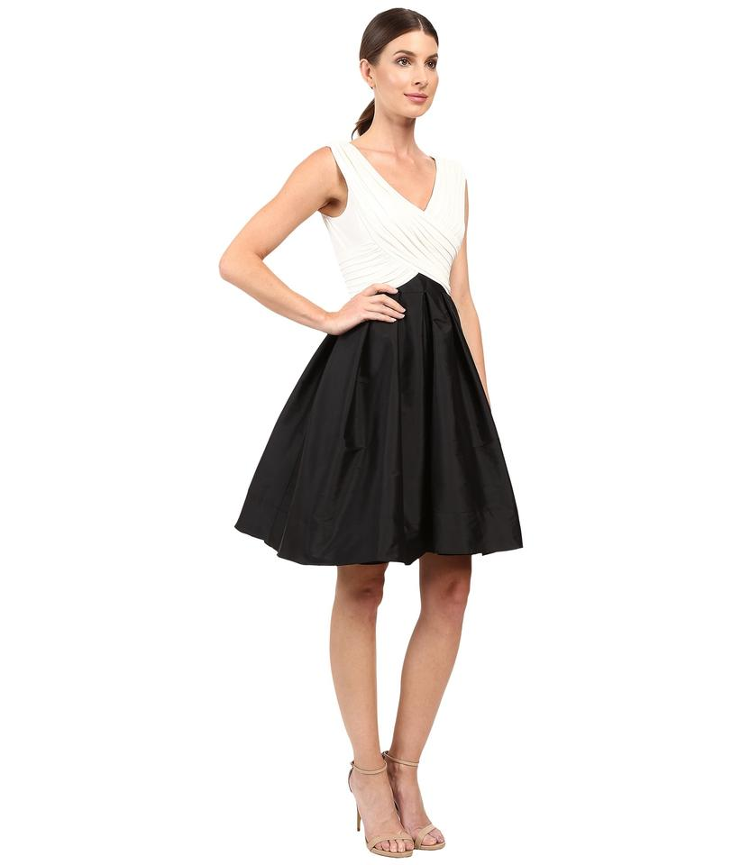 0647de0c92 Adrianna Papell Black   Ivory Draped Fit and Flare with Full Taffeta ...