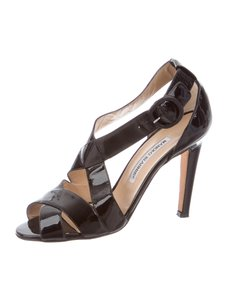 Manolo Blahnik Manolo Strappy Caged 8 Black Sandals