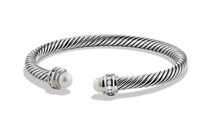 David Yurman Cable Classics Bracelet with Pearls and Diamonds, 5mm