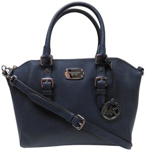 Michael Kors Ciara Saffiano Leather Satchel in Navy