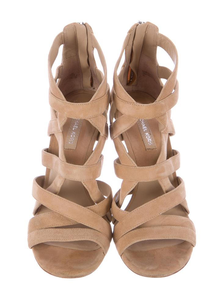 7a0a933a460 Michael Kors Collection Nude Suede Caged Heels Sandals Size US 8 ...