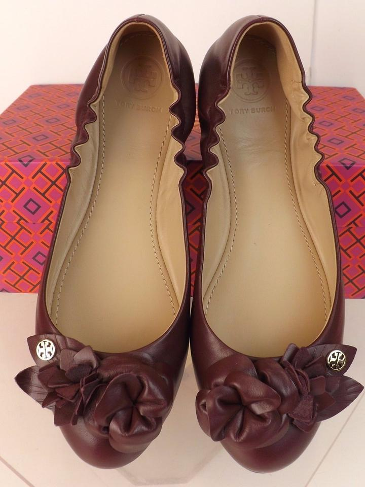 Gold Reva Leather Flowers Burch Wine Ballet Port Blossom Tory Flats 6q7ZFwY7