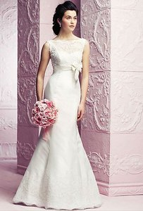 Paloma Blanca Natural White Lyon Lace & Silk Dupioni 4263 Formal Wedding Dress Size 6 (S)