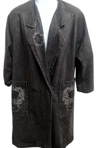 Newport News Steampunk Beaded Flowers Denim Double Breasted Trench Coat