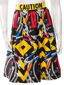 Moschino Silk Print Monogram Embellished Logo Skirt Red, Black, Yellow