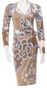 Emilio Pucci Longsleeve Print Sundress V-neck Wrap Dress