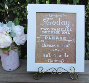 Rustic Country Burlap Look Wedding Sign-today Two Families Become One
