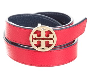 Tory Burch Red, blue leather Tory Burch gold Reva logo belt XL