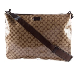 Gucci Silver Hardware Gg Beige, Brown Messenger Bag