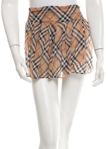 Burberry Nova Check Plaid Monogram Mini Skirt Beige, Black, Red