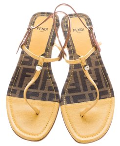 Fendi Ankle Strap Zucca Monochrome Brown, Yellow Sandals