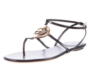 Gucci Patent Leather Hardware Black, Gold Sandals
