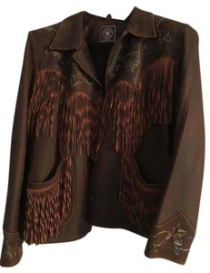 Double D Ranchwear Fringe Embroidered Country Soft Brown Leather Jacket