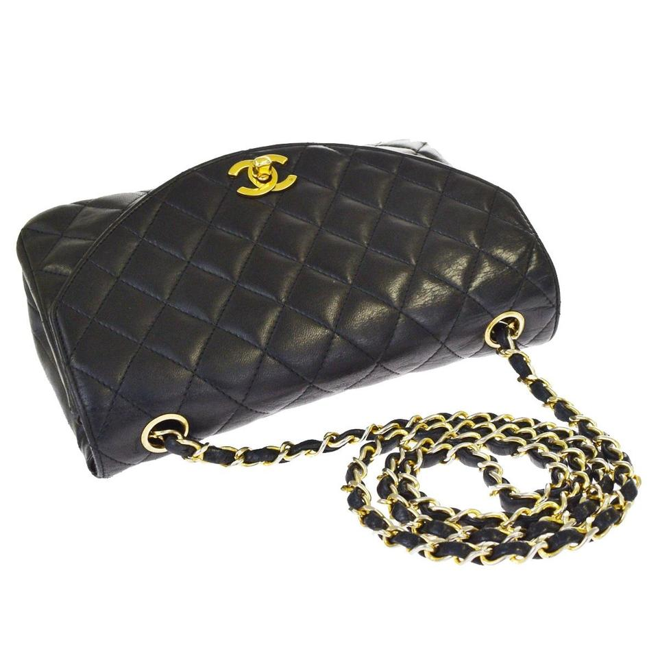 2bffed631b6c Chanel Classic Quilted Half Moon Flap Black Lambskin Leather Cross ...