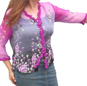 Other Silk Sheer Floral Flowy Top Fuschia
