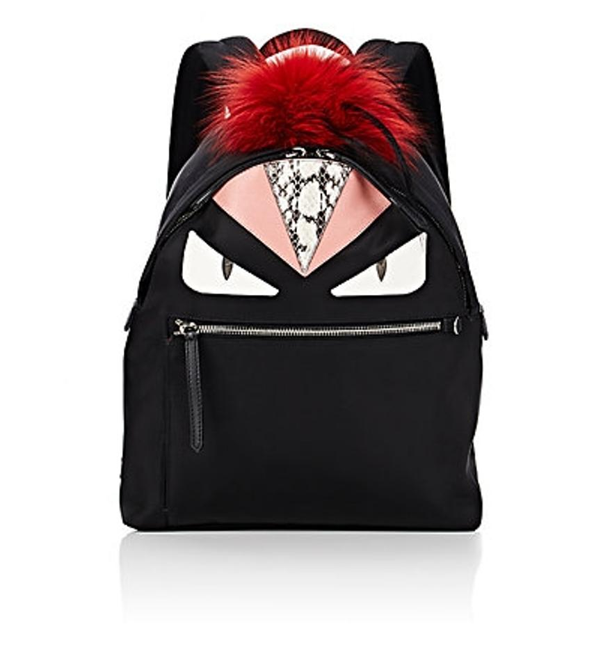 df3d6b8148a9 Fendi Monster Black Natural Snakeskin and Red Fox Fur Backpack - Tradesy