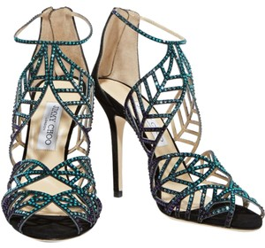 Jimmy Choo Crystal Embellished Lazer Cut Black Sandals