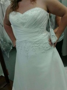 Mori Lee Ivory Chiffon 2306 Sexy Wedding Dress Size 18 (XL, Plus 0x)