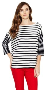 French Connection Striped Stripes Oversized Striped Tee T Shirt off white/black