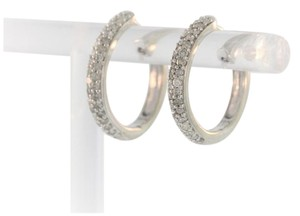 Other Classic Diamond Hoop Earrings- 10k White Gold
