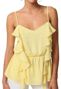 Isabel Lu Silk Tank Ruffle Tank Silk Silk Top yellow