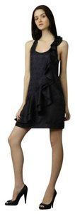 Ali Ro Silk Black Cocktail Silk Black Jacquard Lbd Dress