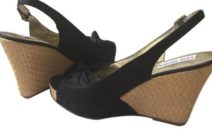 Steve Madden Black satin Wedges