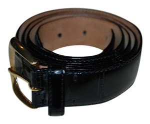 De Vecchi DE VECCHI 751016 MENS BLACK ALLIGATOR BELT W/GOLD TONE BUCKLE 44