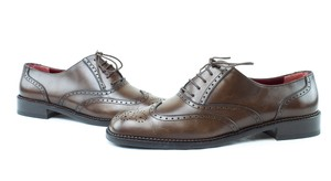 Salvatore Ferragamo Brogue Tie Up Leather Brown Flats