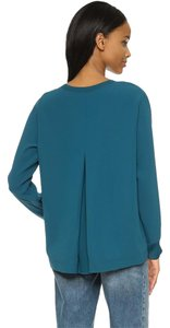Vince Longsleeve Crepe Pleat Relaxed Fit Top teal
