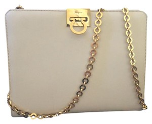 Salvatore Ferragamo Ivory Gold Clutch