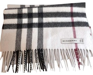 Burberry Burberry,Ivory,House,Check,Fringed,Scarf