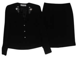Tahari TAHARI ASL Womens Black Woven Beaded Blazer Pencil Skirt Suit 4 $280